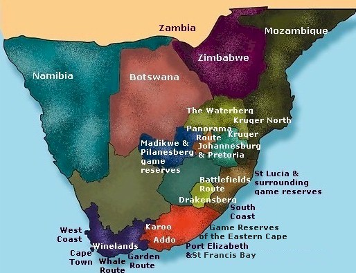 Map Of South Africa Featured On Www Greatescapes Co Za